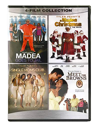 Tyler Perry 4 Film Collection DVD - Madea Goes to Jail / A Madea Christmas / Single Moms Club / Meet the Browns - New Movies Set