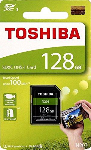 Toshiba 128GB N203 SDXC UHS-I Card U1 Class 10 SD Card Memory Card 100MB/s (THN-N203N1280A4)
