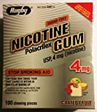 Rugby Nicotine Polacrilex Gum, 4mg Stop Smoking Aid, Sugar Free Coated Fruit Flavor, 100 Pieces per Box