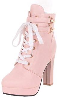 baf6b5c74a0 UH Botas Mujer Cordones Plataforma Botin Tacon Ancho Plataforma Calzado Dama  Estilo Británico Zapatos