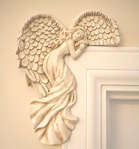 Garden Mile Vintage Shabby Chic Stil creme Engel Flügel Türrahmen Ornament einzigartige Weihnachtsdekoration Rechtwinkel Creme Wand Skulptur Fee Tür 25cm hoch für Weihnachten, Wohndeko oder Hochzeit