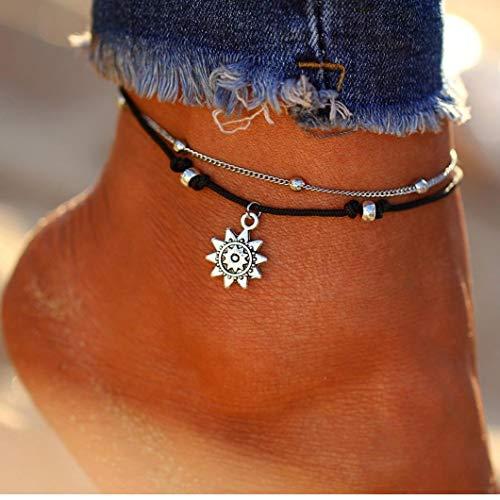 AMOYER Pulsera de Tobillo de múltiples Capas para el Tobillo Pulsera Tobillera Cadena de la joyería de la Playa del pie para la Mujer