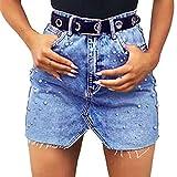 Vaquera Faldas Perla A Línea Cortas Falda Cintura Alta Rotos Vaqueros Faldas Color Sólido Diamante Mini Lápiz Faldas para Mujer