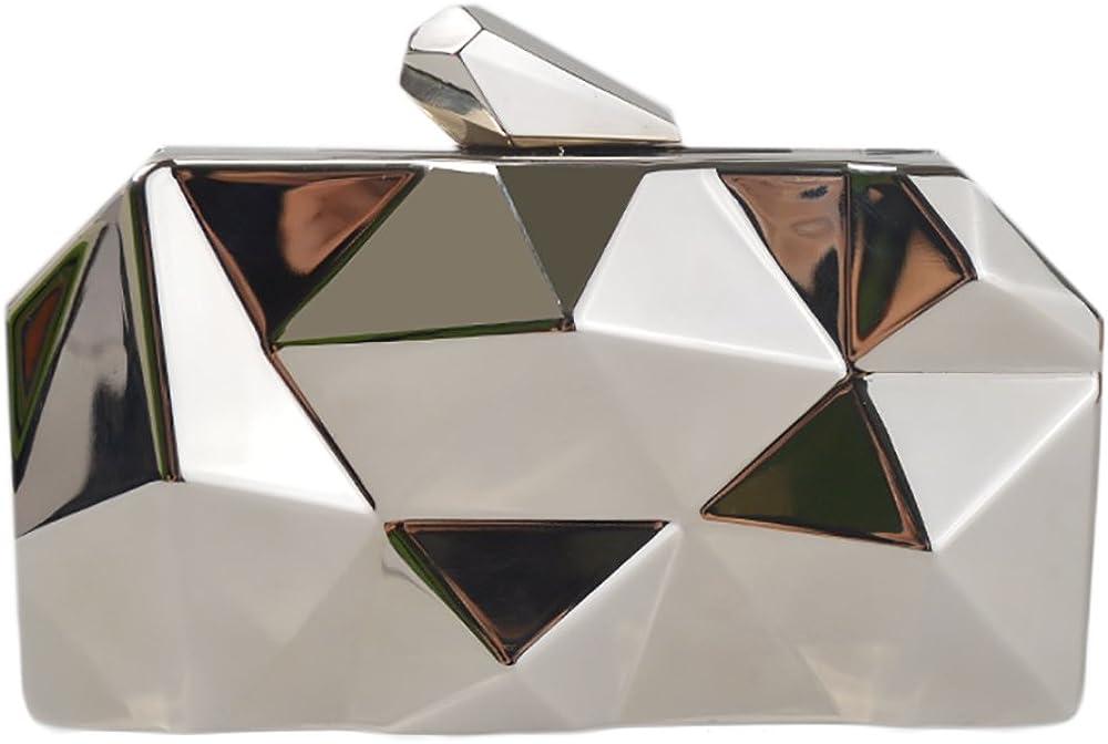 QZUnique Women's Alloy Metal Abstract Stone Cut Evening Bag Clutches Handbag