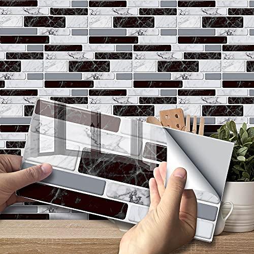 Lpraer 27 unidades de adhesivos para azulejos autoadhesivos, 20 x 10 cm, decoración de azulejos, 3D, resistente al agua, aspecto de piedra, para cocina, salón, baño