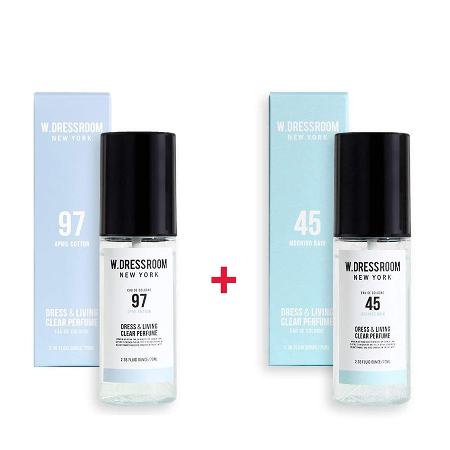 プログラム正当化する湖W.DRESSROOM Dress & Living Clear Perfume 70ml (No 97 April Cotton)+(No 45 Morning Rain)