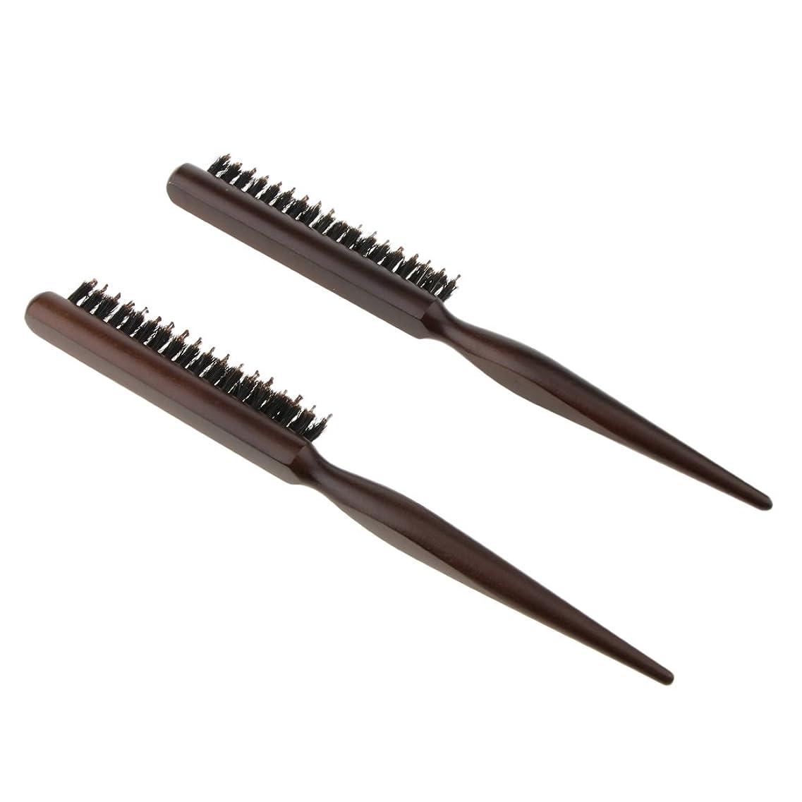 揮発性賠償経度Fenteer 2本 木製櫛 ヘアコーム ヘアブラシ ナイロン毛+木製ハンドル