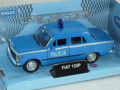 Welly FIAT 125p 125 P Blau Polizei Milicja 1967-1972 Polski FIAT Ca 1/43 1/36-1/46 Modellauto Modell Auto