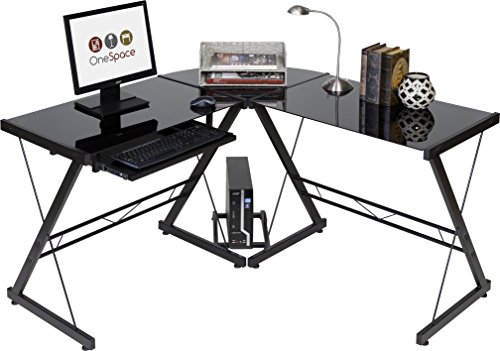 OneSpace Ultramodern Glass L-Shape Desk, Black and Clear