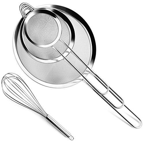 Juego de colador de alimentos de malla de alambre para cocina, de acero inoxidable para pasta, arroz, sifa, harina, azúcar, glaseado, glaseado, 8,12 y 18 cm