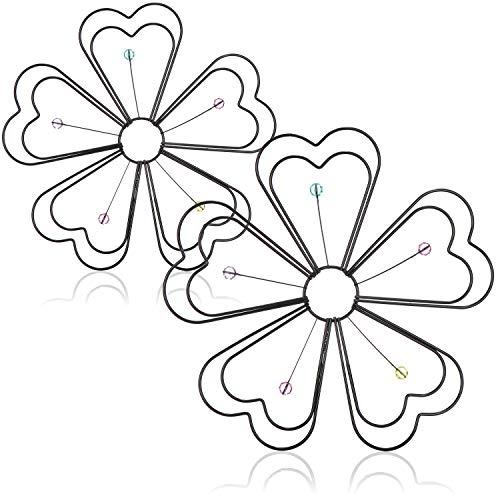 com-four® 2X Wanddeko Blume aus pulverbeschichteten Stahl, mit Steinen verziert (Wanddeko 2 Stück - Blume)