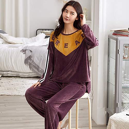 PMZZPLVDS Langarm Pullover Pyjama Anzug Lose Flannel Damen Home Service Herbst Und Winter,M