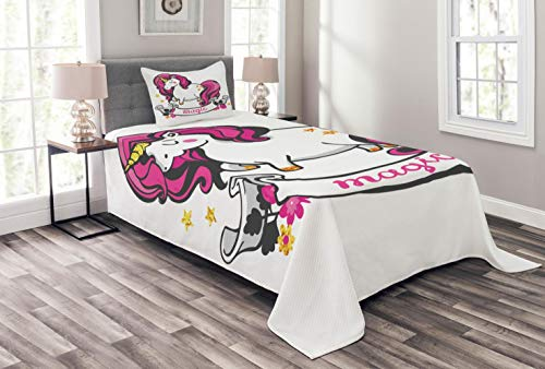 ABAKUHAUS Einhorn Tagesdecke Set, Einhorn mit rosa Haaren, Set mit Kissenbezug Weicher Stoff, für Einzelbetten 170 x 220 cm, Violettblau Beige