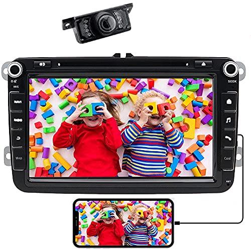 20,3 cm 8 Pollici WinCE 6.0 Doppio 2 DIN autoradio per VW Tiguan Golf Passat Skoda Seat con navigatore GPS di lettore DVD radio Bluetooth per parcheggio controllo del volante 1080p video+ telecamera