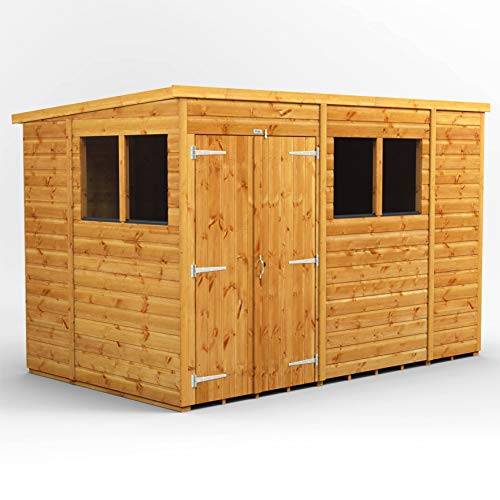 POWER | 10x6 Pent Double Door Wooden Garden Shed | Size 10 x 6 Double Doors Sheds | Super Fast Delivery or Pick your own day