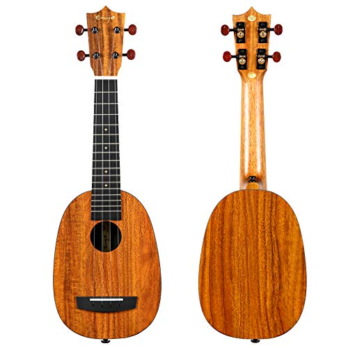 Enya Pineapple Soprano Ukulele 21 Inch HPL Beginner Kit With Bundle Includes Online Lessons, Case, Strap, Strings, Capo, Sand Shaker, Picks, Polish Cloth (EUP-X1)