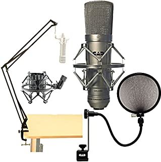 CAD Audio GXL-2200 Cardioid Condenser Microphone + On Stage Broadcast Boom Arm + 5A Pop Filter