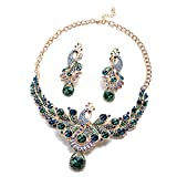 Shop LC Delivering Joy Blue Green Glass Earrings Necklace Peacock Fashion Prom Jewelry Sets for Women Size 20'