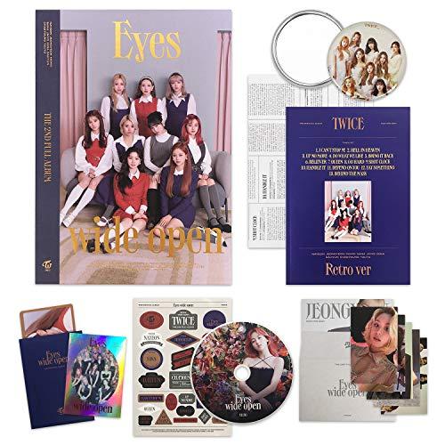 TWICE 2nd Album - EYES WIDE OPEN [ RETRO ver. ] CD + Photobook + Message Card + Lyric Poster + Sticker + Photocards