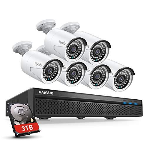 Sannce - Cámara de vigilancia de 5 MP H.264+ PoE 8 CH POE NVR con disco duro de 3 TB y 6 cámaras de vídeo de vigilancia para interior y exterior, impermeable IP66