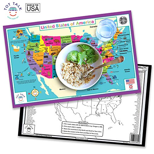 Tot Talk United States of America Placemat, Double-sided, Made in the USA
