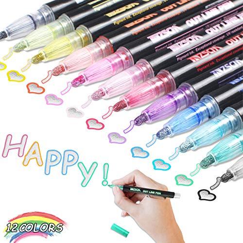 double line outline pen,doppelte linie stift,zweizeiliger stift,double line marker,outline stift set,geschenkkarte schreiben zeichnen stifte (12 Stück)