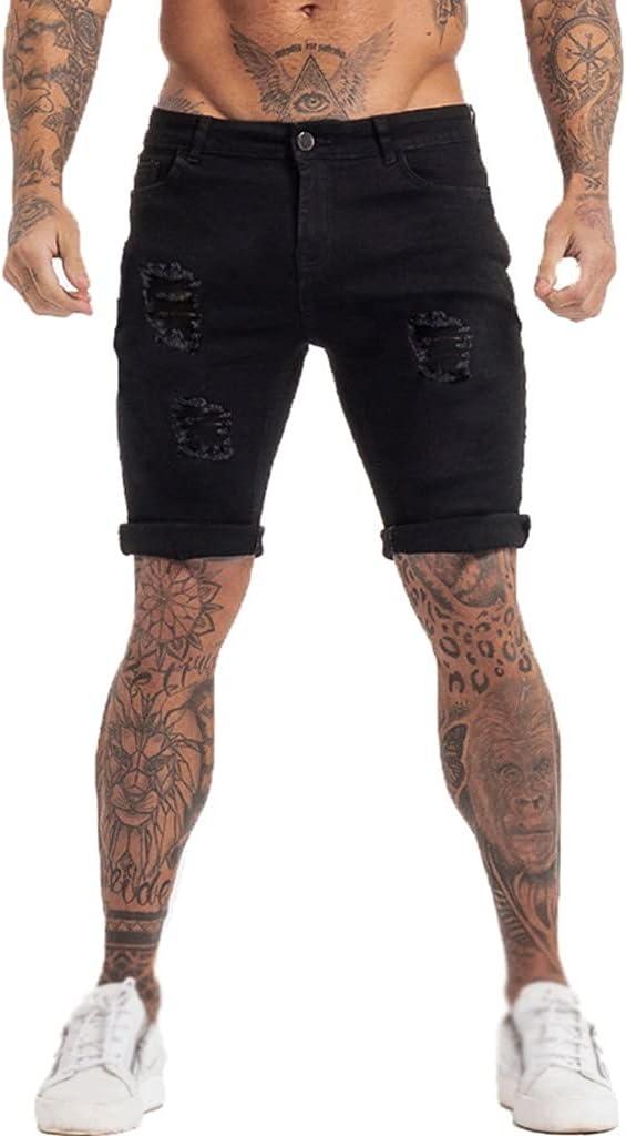 JJSPP Mens Shorts Jeans Denim Shorts Black High Waist Ripped Summer Jeans Shorts for Men Plus Size Casual Streetwear (Color : C, Size : 34)
