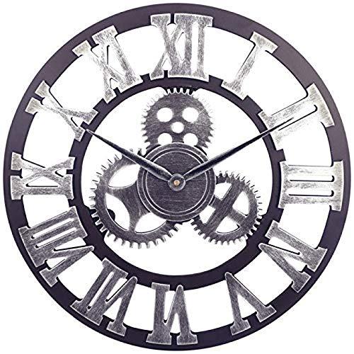 ZHJIUXING SF Große Retro Gear Gartenuhr Open Face Holzimitat Eisen Outdoor-Uhr Indoor Outdoor, Outdoor-Uhren Für Den Garten, B, 50cm
