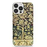 William Morris Coque de protection intégrale en TPU souple anti-rayures, motif arbre de vie, motif...