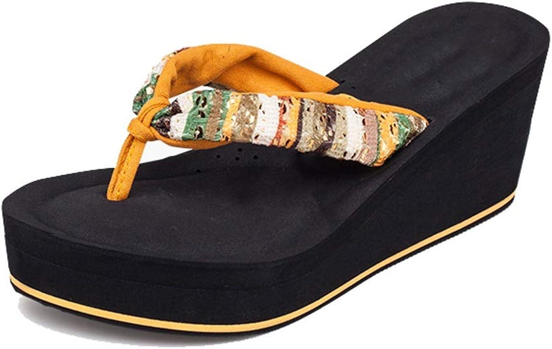 Fanxu Women's Flip Flops,Summer Sandals Fashion High Heel Beach Slippers(shoes Code 3739) Yellow