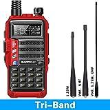 BaoFeng UV-9S Tri-Band VHF,1.25M,UHF 5Watt 136-174/220-225/400-520Mhz with Three Antenna Portable Amateur Ham Two Way Radio