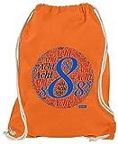 Hariz - Bolsa de deporte con números para 8 cumpleaños, incluye tarjeta de regalo, color naranja, tamaño talla única