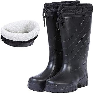 Men Winter Fishing Boots Fishing Waders Waterproof High Water Shoes EVA Outdoor Upstream Flat Anti-slip Rubber Rain Boots Warm