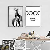 Djkaa Mode Noir Et Blanc Affiche Surf Surf Peinture Sur Toile Vogue Affiches Et Gravures Mur Art Photo Pour Salon Décor Pour La Maison