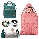 4 in 1 Portable Folding Crib Travel Mommy Bag,Thick Fabric Baby Bassinet Organizer,Keep Warm in Winter W/Newborn Baby Wrap Swaddle Blanket Knit&1Diaper Pad
