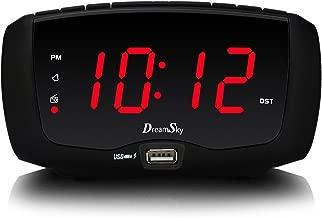 DreamSky Digital Alarm Clock Radio, FM Radio, 1.4 Inches Large Red LED Number Display, Dual USB Charging Ports, 3.5 mm Headphone Jack, Snooze, DST, Sleep Timer