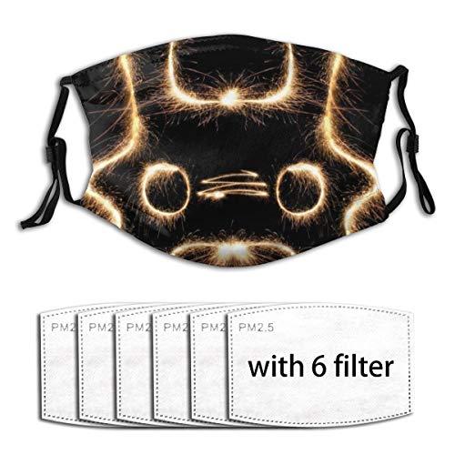Popsastaresa Automatisches Feuerwerk,Staubwaschbarer wiederverwendbarer Filter und wiederverwendbarer Mundschutz gesicht mit 6 Filtern