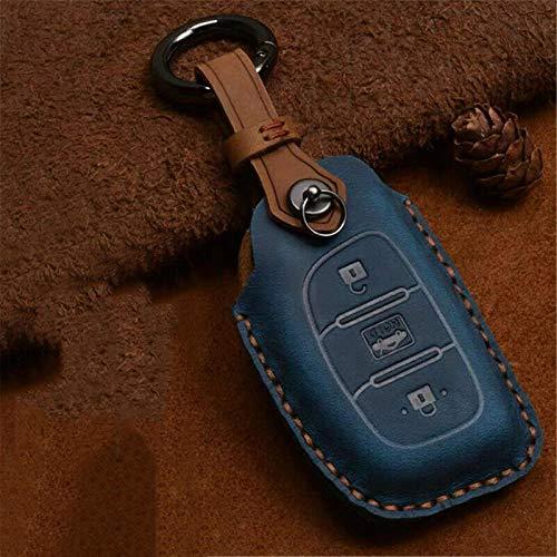Funda de piel para llave de coche compatible con Hyundai Santa Fe Sonata Elantra Tucson de 3 botones (tipo A, azul)