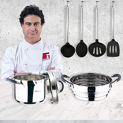 San Ignacio MasterPro Set cuisinière 16 cm et cuisinière 24 cm, induction chromée, acier inoxydable