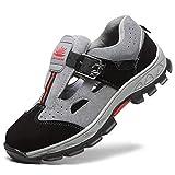 WYBFBYQ Zapatos de Seguridad con Puntera de Acero, Transpirables, cómodos, de construcción Industrial, antiperforación, Antideslizantes, Zapatos de Seguridad para el Trabajo, 42