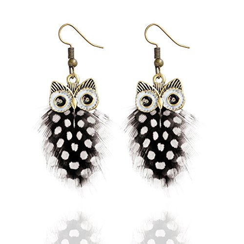 Babysbreath Multi Couche Colour Peacock Feather Owl Shape Fishhook Drop Earrings for Women Noir