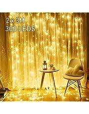 Avoalre 2M x 3M LED-lichtgordijn 300 LED's lichtkettinggordijn (max. 6 sets) Uitbreidbaar met stekker 8 modi Helder warm wit voor binnen buiten Nieuwjaar Kerstvakantie Feest Bruiloft Raamdecoratie
