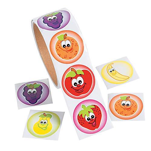 100pcs / Roll Cute Colorful Smiley Apple Banana Niños Recompensa Pegatinas Juguete Niños Niño Niña Scrapbooking Libro DIY Sello Labe Etiqueta