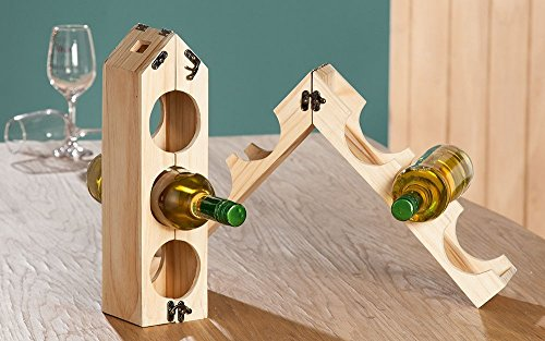 Preisvergleich Produktbild Flaschenhalter Weinflaschenhalter aus unbehandeltem Holz,  für 3-6 Flaschen,  Halter, Regal