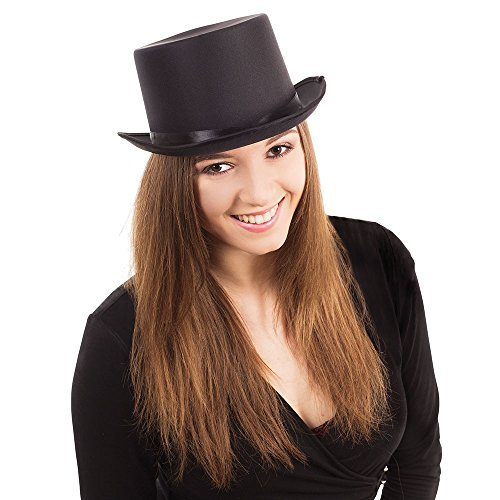 Bristol Novelty BH476 Top Hat Black Satin Look, Unisex-Adult, One Size