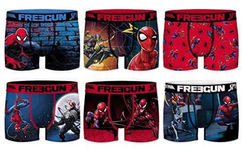 Freegun Boxershorts aus Mikrofaser, verschiedene Modelle je nach Verfügbarkeit, mehrfarbig, 4 Boxershorts mit Spiderman-Überraschung., S