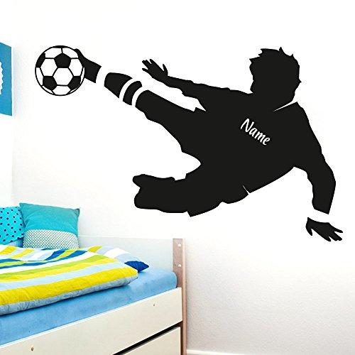 Wandaro Wandtattoo Fußballspieler Wunschname I schwarz (BxH) 91 x 58 cm I Fußball Aufkleber Ball Kinderzimmer Wandaufkleber Junge Wandsticker Sticker E038