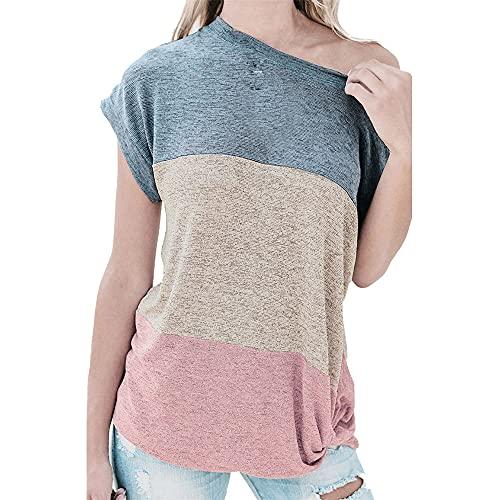 Tops Mujer Personalidad Moda Primavera Verano Cuello Diagonal Mujer Blusa Único Empalme Dobladillo Plisado Diseño Diario Casual Cómodo All-Match Manga Larga Mujer T-Shirts