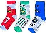 TVM Europe GmbH LEGO NINJAGO Socken Set 3 Paar Kindersocken Kinder Strümpfe für Jungen Ninja hellgrau Gr.27/30 31/34 35/38 (31/34)