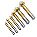 CSLU-Tool 6 Pcs 90 Degree 3 Flute Titanium HSS Chamfer Chamfering Cutter Drill Bits End Mill Countersink